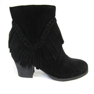Sbicca Boots Black Fringed Heels Patience Womans
